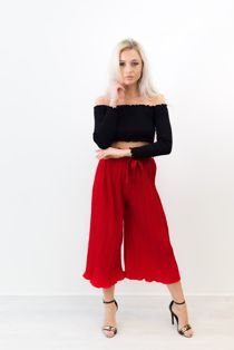 Red Pleated Belt Wide Leg Trousers