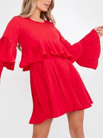 Red Pleated Long Sleeve Smock Dress