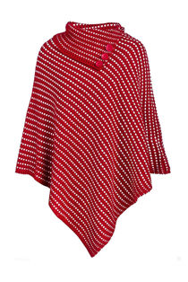 Red Polka Dot Detail Cable Knit Poncho