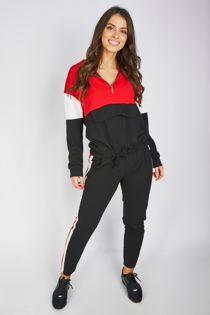Red Pouch Pocket Colour Block Tracksuit