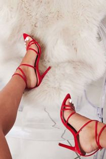 Red Strappy Pointed High Heels