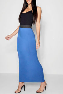 Royal Blue Basic Contrast Waist Jersey Maxi Skirt