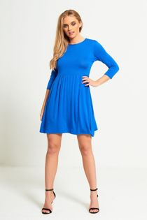 Royal Blue Plain Basic Skater Mini Dress