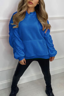 Royal Oversized Ruched Sleeve Hoodie