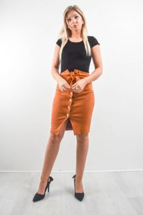Rust Suede Button Up Pencil Skirt