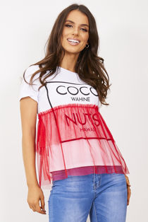 Red Coco Wahine Mesh Overlay T-Shirt Top