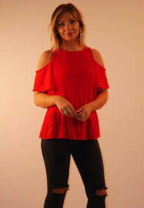 Red Cold Shoulder Ruffle Sleeve Pleated Blouse