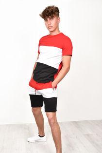 Red Colour Block T-Shirt & Short Set