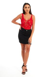 Red Floral Lace Scoop Neck Bodysuit
