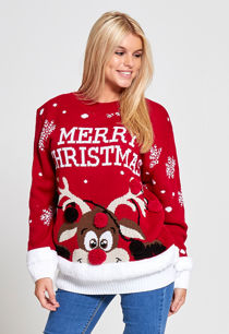 Red Merry Christmas Reindeer Knitted Jumper