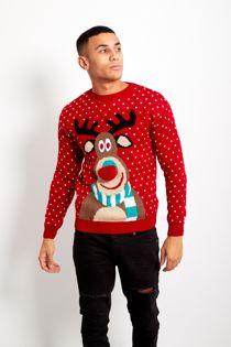 Red Pom Rudolph Christmas Jumper