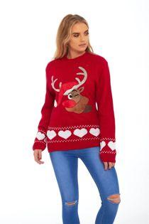Red Suede Diamante Reindeer Heart Christmas Jumper