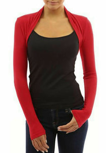 Red Viscose Cropped Plain Shrug