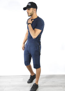 Navy Ribbed Tee and Shorts Set