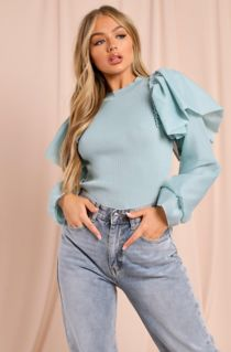 Sage Ribbed Extreme Puff Balloon Sleeve Top