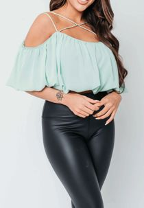 Sage Criss Cross Strap Ballon Top