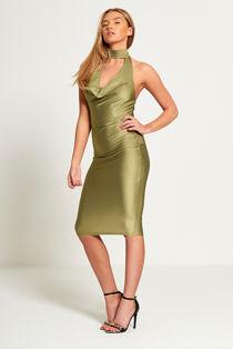 Sage Green Cowl Halter Neck Bodycon Dress