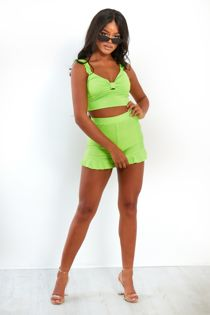 Neon Green Frill Crop Top And Shorts Set