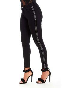 Side Stripe Stud Detail Skinny Jeans