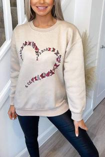 Plus Size Stone Butterfly Heart Sweatshirt