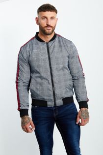 Stripe Ribbed Detail Checked Bomber Jacket
