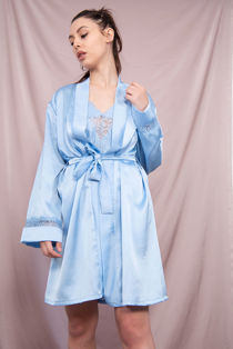 Baby Blue Satin Lace Trim Dressing Gown