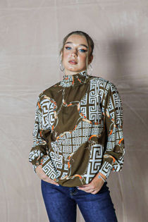 Shirred Chain Scarf Print Blouse