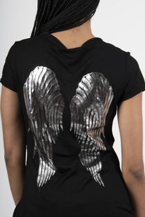 Black Metallic Angel Wing Tee Top