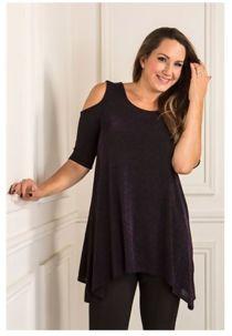 Plus Size Purple Lurex Cold Shoulder Tunic