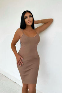Taupe Ribbed Strappy Bodycon Dress