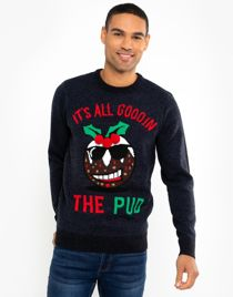 Navy All Good In The Pud Christmas Jumper