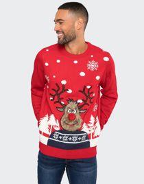 Red Winter Reindeer Christmas Jumper