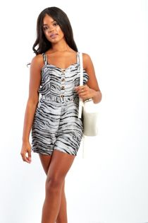 Tiger Print Button Up Playsuit