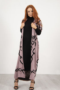 Pink Roll Neck Rib Midi Dress With Contrast Chain Cardigan