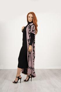Beige Roll Neck Rib Midi Dress With Contrast Chain Cardigan