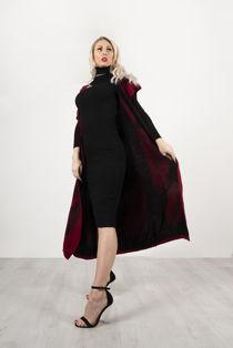 Wine Roll Neck Rib Midi Dress With Contrast Print Cardigan