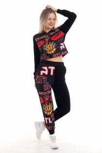 Black Atlanta Hawks Printed Hooded Loungewear