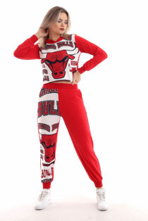 Red Chicago Bulls Hooded Loungewear Set
