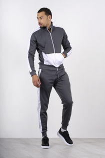 Grey Two Tone Zip Through Funnel Tracksuit