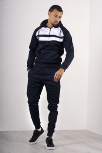 Navy With White Front Panel Half Zip Hooded Tracksuit