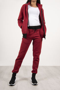 Red Zip Up Tracksuit With Contrast Detail