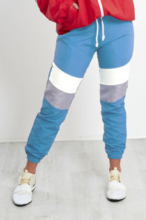 Turq With White and Grey Panel Trouser