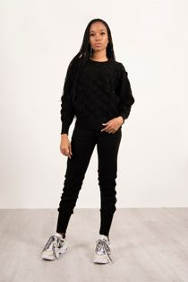 Black Knitted Bubble Lounge Set