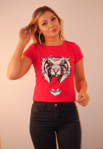 Yellow Tiger Print Sequin T-shirt