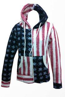 USA Flag Print Hoodie Jacket