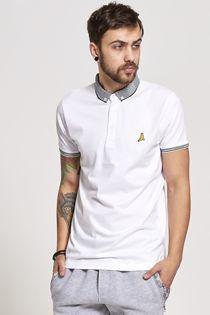 White Aztec Collar Polo T-Shirt