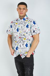 White Beach Surf Half Sleeve Shirt