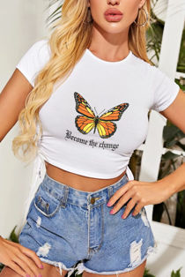 White Butterfly Print Ruched Side Crop T-Shirt