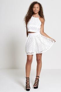 White Circle Lace Overlay Halted Neck Crop Top