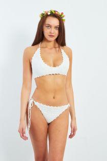 White Crochet Halter Neck Bikini